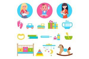 Kid and Breastfeeding, Toys Set Vector Illustration