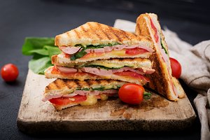 Club sandwich panini with ham
