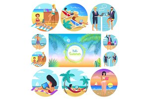 Hello Summer 2017 Poster Set Vector Illustration