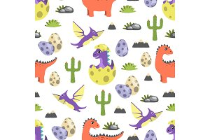 Dinosaur Seamless Pattern Vector Illustration