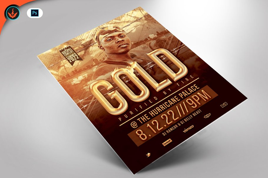 Gold Urban Party Flyer template