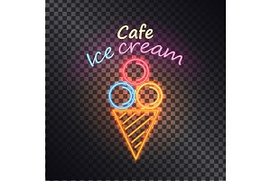 Cafe Ice Cream, Multiclored Vector Illustration