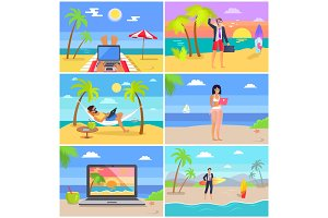 Distant Work People at Seaside Vector Illustration