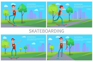Skateboarding Vector Banner, Colorful Illustration