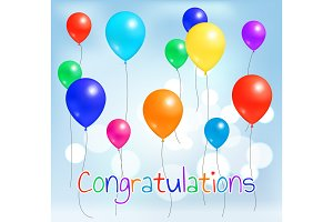 Congratulations Postcard Colorful Balloons Flying