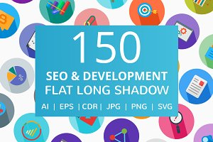 150 SEO & Development Flat Icons