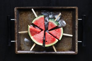 Juicy fresh watermelon on sticks