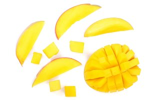 half of Mango fruit isolated on white background close-up. Top view. Flat lay
