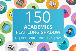 150 Academics Flat Long Shadow Icons