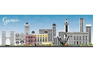 Genoa Italy City Skyline