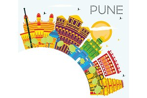 Pune India Skyline with Color