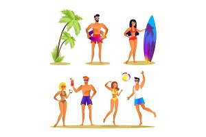 People and Summer Activities Vector Illustration