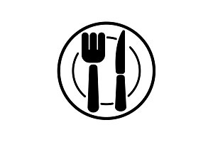 icon. Cutlery plate , fork and knife