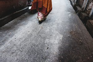Western woman exploring in India