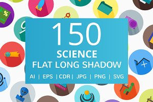150 Science Flat Long Shadow Icons