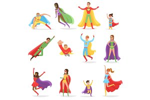Superheroes in Bright Suits and Long CLoaks Set