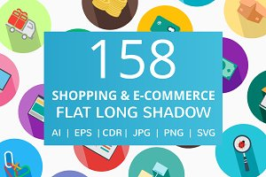 159 Shopping & E-Commerce Flat Icons