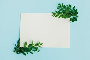 Desktop mock-up with blank paper card, branch on white shabby table background. Empty space. Styled stock photo, web banner. Flat lay