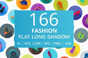 166 Fashion Flat Long Shadow Icons