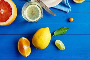 Citrus fruits, limes and lemon