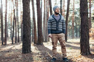 Outdoor portrait of handsome bearded man . Casual autumn fashion portrait