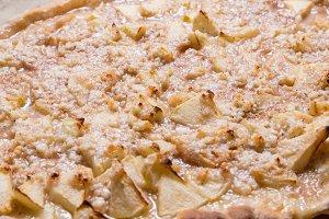 Apple pie on kitchen table