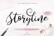 Storyline Font & Watercolour Pack