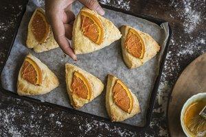 Homemade orange scone