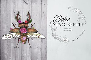 Stag-beetle modern illustration