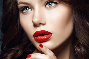 beautiful girl with red lips
