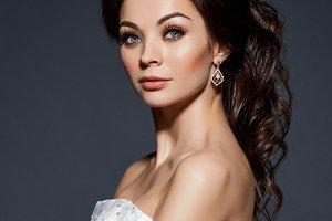 beautiful bride in wedding gown