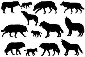 Silhouettes of wolves and wolf-cubs