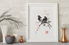 Two crows sumi-e painting
