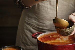 Serving tomato soup