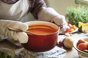 Creamy tomato sauce food