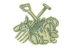 Spade Pitchfork Crop Harvest Etching
