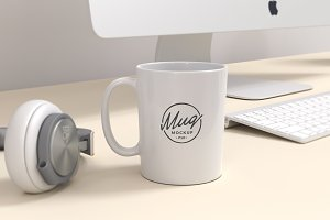 Coffee Mug Mockup on Workspace