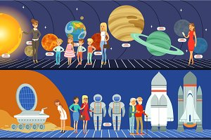 People in the planetarium set, innovation education museum horizontal vector Illustrations