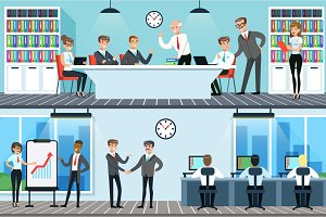 Business people working in office set, men and women having conference and meeting for business collaboration horizontal vector Illustrations