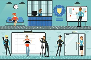Police department set, policemen at work, investigating crimes, identifying and arresting criminals horizontal vector Illustrations