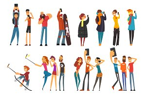 Different happy people taking selfie photo cartoon vector Illustrations