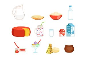 Dairy products set, milk, butter, cheese, yogurt, sour cream, ice cream vector Illustrations