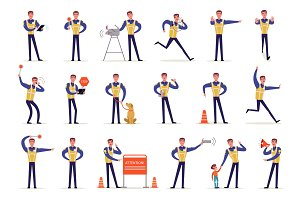 Traffic officer in uniform with high visibility vest set, policeman standing at crossroads and making sign with his hands vector Illustrations