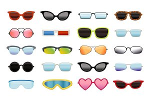 Set of different sun glasses