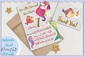Mermaid party invitation DIY