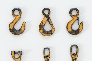 3D set of Used lifting crane hooks
