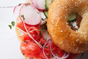 Bagel with salmon fish and cream cheese
