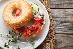 Bagels with salmon and cream cheese
