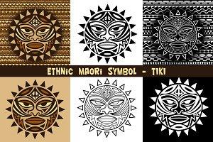 Maori symbol Tiki & seamless pattern