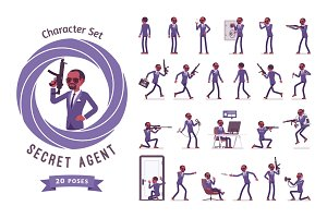 Secret agent black man, gentleman spy ready-to-use character set